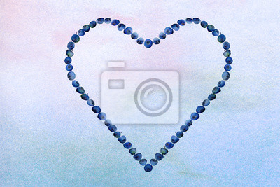 pink and blue ombre wash watercolor background texture with blueberry heart