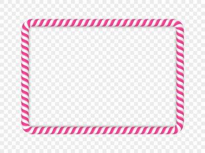 Sticker Pink rectangular candy cane frame