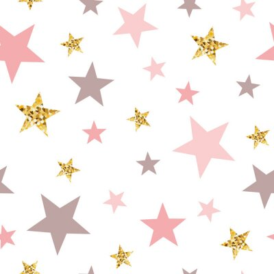 Sticker Pink seamless pattern gold glitter stars pink for Christmas backgound or baby shower sweet girl design