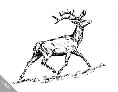 Sticker Pinsel Malerei Tinte zeichnen Vektor Hirsch Illustration