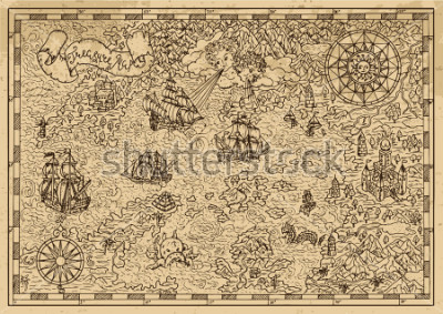 Sticker Pirate Map with old sailing ships, fantasy creatures, treasure islands. Pirate adventures, treasure hunt and old transportation concept. Hand drawn vector illustration, vintage background
