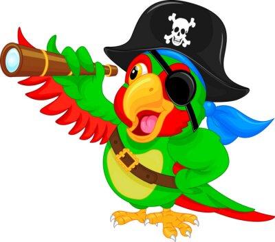 Sticker Piraten-Papageien-Karikatur