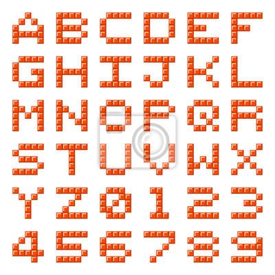 Pixel Block Alphabet Buchstaben Und Zahlen Notebook Sticker