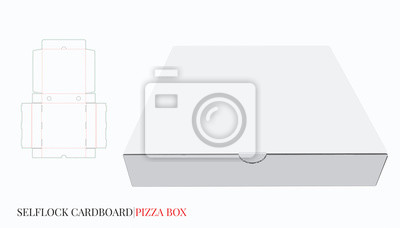 Pizza Box, Cardboard Self Lock Delivery Box. Vector with die cut / laser cut layers. White, blank, clear, isolated Pizza Box mock up on white background, 3D presentation. Packaging design