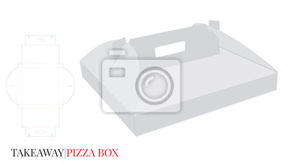 Pizza Box with Handle, Cardboard Self Lock Delivery Box. Vector with die cut / laser cut layers. White, blank, clear, isolated Pizza Box mock up on white background, 3D presentation. Packaging design