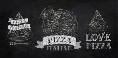 Pizza Logos, Symbole und ein Stück Pizza Kreide