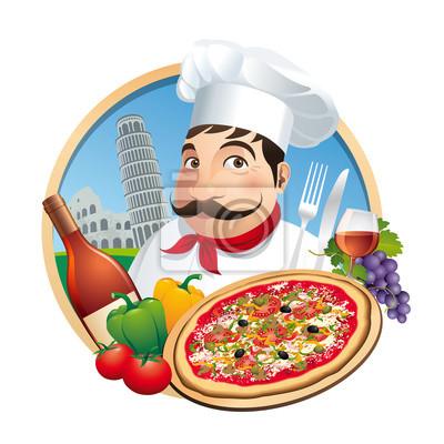Pizzeria Restaurant Menü Carte - Vecteur CMJN