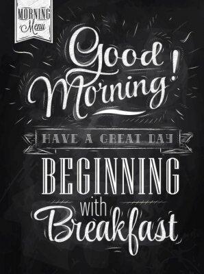 Plakat Guten Morgen! Frühstück Kreide