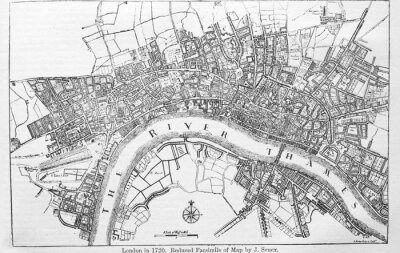Sticker Plan of London in 1720 in the old book The Encyclopaedia Britannica, vol. 14, by C. Blake, 1882, Edinburgh