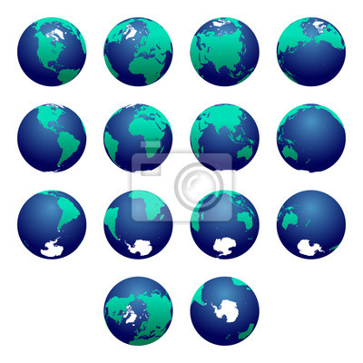 Planet Earth vector illustration. Detailed Earth's hemispheres maps. Globe. World map. North pole / South pole. Europe, Asia, Austratlia, America, Africa, Antarctica maps.