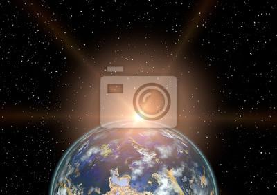 Planet Erde und faszinierender Sonnenaufgang. Wissenschaft.