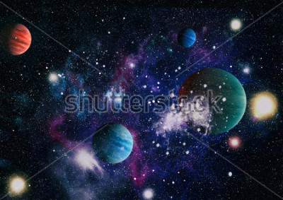 Sticker planets, stars and galaxies in outer space showing the beauty of space exploration. Elements furnished by NASA