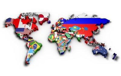 Sticker Planisfero mondo 3d con bandiere in rilievo