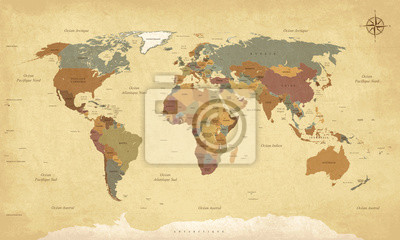 Sticker Planisphère Mappemonde Weinlese - Textes en français. vecteur