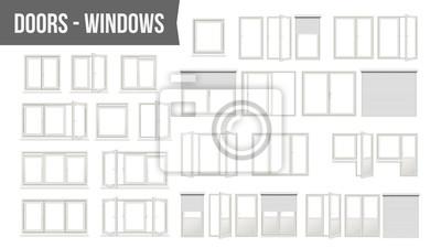 Sticker Plastik-PVC-Windows-Türen stellten Vektor ein. Verschiedene Typen. Rollo-Fensterläden. Geöffnet und geschlossen. Vorderansicht. Wohndesign-Element. Getrennt auf weißer Hintergrund-realistischer Abbild