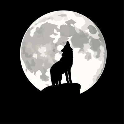 Sticker Platz Darstellung der Wolf heult den Mond an.