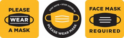 Sticker Please wear mask icon vector signage