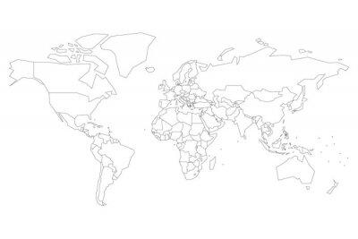 Sticker Politische Karte der Welt mit Punkten statt kleinen Staaten. Leere Karte für Schulquiz. Vereinfachter schwarzer dünner Entwurf auf weißem Hintergrund.