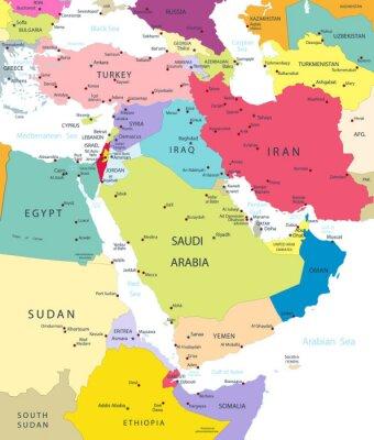Sticker Politische Karte des Nahen Ostens und Asien Isolated On White