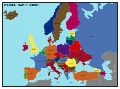 Sticker Politische Karte von Europa