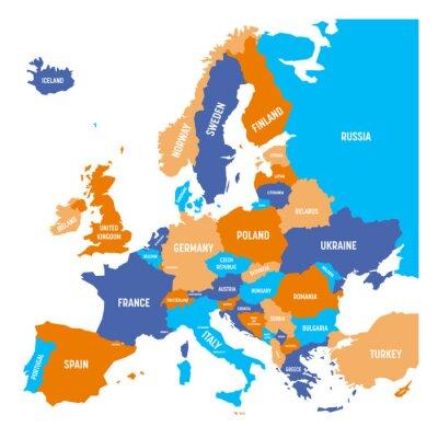 Sticker Politische Karte von Europa-Kontinent in vier Farben mit weißen Ländernamenaufklebern und lokalisiert auf weißem Hintergrund. Vektor-Illustration.