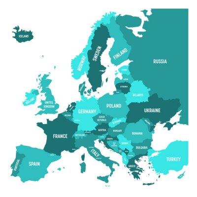 Sticker Politische Karte von Europa-Kontinent in vier Schatten des Türkisblaus mit weißen Ländernamenschildern und lokalisiert auf weißem Hintergrund. Vektor-Illustration.