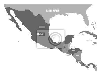Sticker Politische Karte von Mittelamerika und Mexiko in vier Grautönen. Einfache flache Vektor-Illustration.