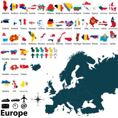 Sticker Politische Landkarte von Europa