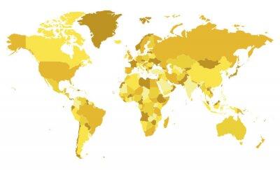 Sticker Politische leere Weltkartenvektorillustration mit verschiedenen Gelbtönen für jedes Land.  Bearbeitbare und klar beschriftete Ebenen.