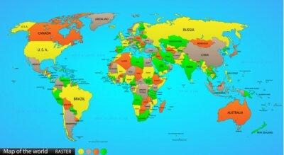 Sticker Politische Weltkarte