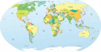 Sticker politische Weltkarte in Farbe