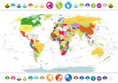 Sticker Politische Weltkarte mit Flach Symbole und Globen