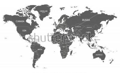 Sticker Politische Weltkartenvektorillustration lokalisiert auf weißem Hintergrund.