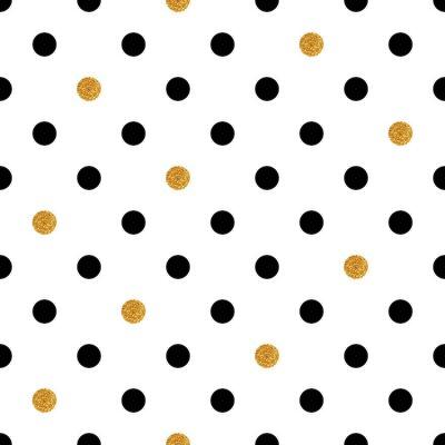 Sticker Polka dot nahtlose Hintergrund in Gold und schwarzen Farben.