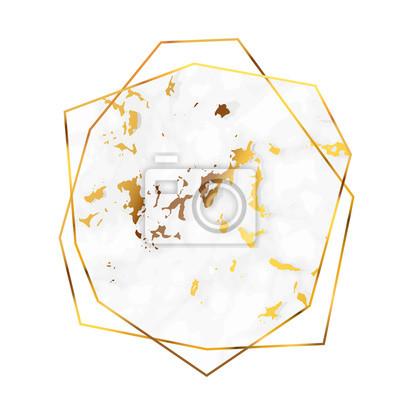 Sticker Polygonaler goldener Rahmen des schönen Marmors in einer Diamantform