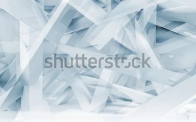 Sticker Polygonales Muster der abstrakten digitalen Hintergrund-, Blauen und Weißenchaotischen Träger. Blaue getonte 3d Illustration, Computergrafik