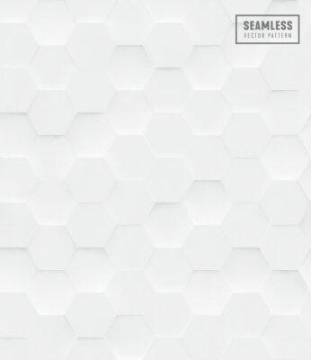 Sticker Polygonales nahtloses Vektormuster des Hexagons 3d, weißer geometrischer Geschäftshintergrund