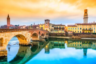 Sticker Ponte di Pietra in Verona, Italien