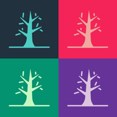 Sticker Pop art Bare tree icon isolated on color background. Vector