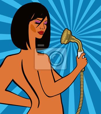 Pop-Art. Das nackte Mädchen in der Dusche. Vektorzeichnung