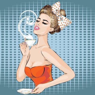 Sticker Pop-Art Frau Porträt mit morgens Tasse Tee. Pin-up-Mädchen