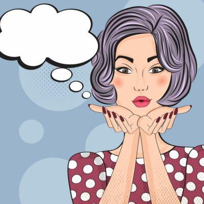 Sticker Pop-Art-Illustration von Mädchen mit der Sprechblase