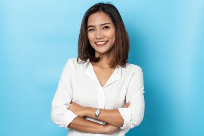 Sticker portrait business woman asian on blue background
