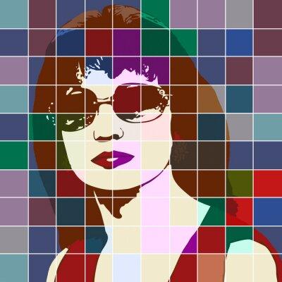 Sticker Portrait einer Frau mit der Wirkung von Glasmalerei