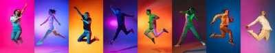 Sticker Portrait of group of people jumping isolated on multicolored background in neon light, collage.