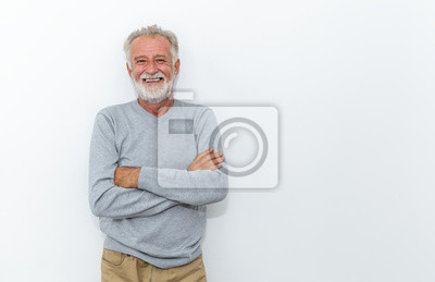 Sticker Portrait of healthy happy smile senior elderly caucasian old arm crossed with copy space isolated on white. Golden age healthcare cheerful lifestyle freedom relax retirement concept