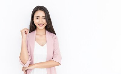Sticker Portrait of smiling confident asian business woman in pink suit office. Asian business girl. Startup successful power business leader executive people looking camera with copy space isolated on white