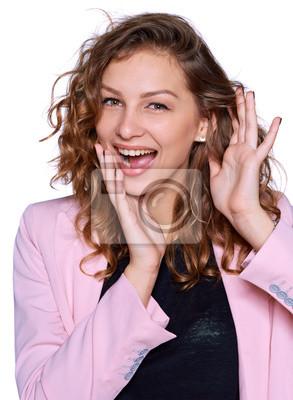 Porträt der jungen Frau überrascht