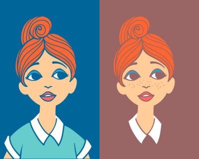 Porträt der jungen rothaarigen Frau mit hohen Brötchen Frisur.