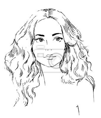 Porträt der jungen schönen Frau, Tress Haar, Hand gezeichnet Vektor-Illustration, Skizze